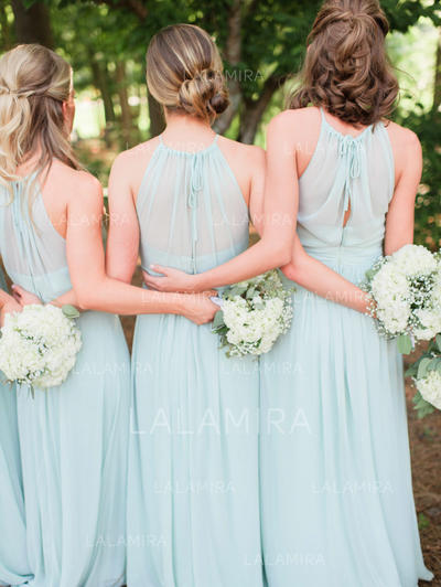 A-Line/Princess Chiffon Bridesmaid Dresses Ruffle Bow(s) Scoop Neck Sleeveless Floor-Length (007145105)