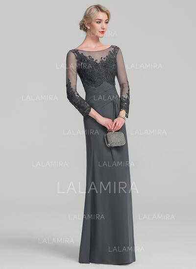 Vestidos princesa/ Formato A Decote redondo Longos Tecido de seda Renda Vestido para a mãe da noiva com Pregueado (008114226)