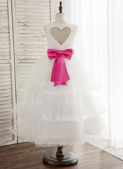A-Line/Princess Ankle-length Flower Girl Dress - Tulle/Lace Sleeveless Scoop Neck With Sash/Bow(s) (010148837)