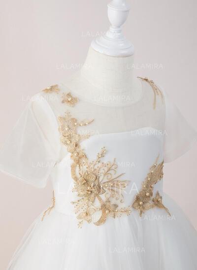 Robe Marquise/Princesse Longueur cheville Robes à Fleurs pour Filles - Tulle/Dentelle Manches courtes Col rond avec Brodé (010195350)