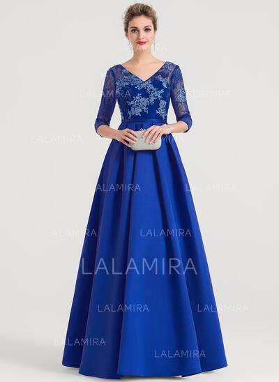 Ball-Gown V-neck Floor-Length Satin Evening Dress (017147968)