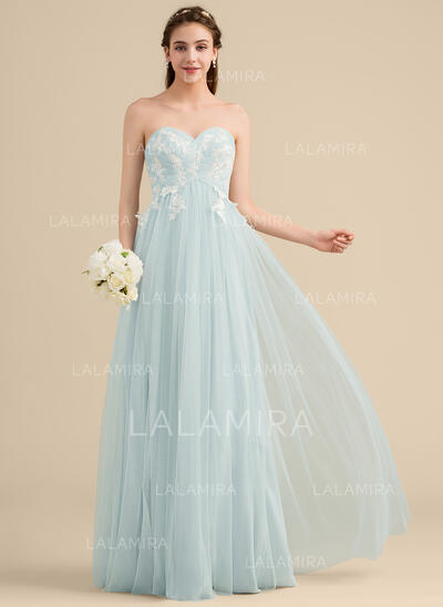 A-Line/Princess Sweetheart Floor-Length Tulle Lace Bridesmaid Dress (007153353)