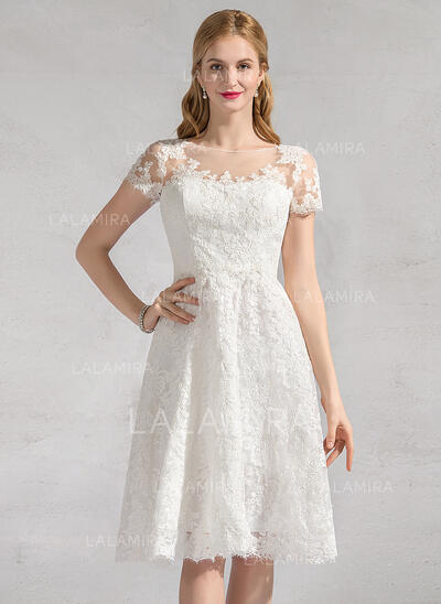 A-Line Scoop Neck Knee-Length Lace Wedding Dress (002083687)