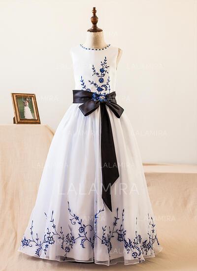 Vestidos princesa/ Formato A Longos Vestidos de Menina das Flores - Organza de/Cetim Sem magas Decote redondo com Cintos/Beading/Curvado (010104985)