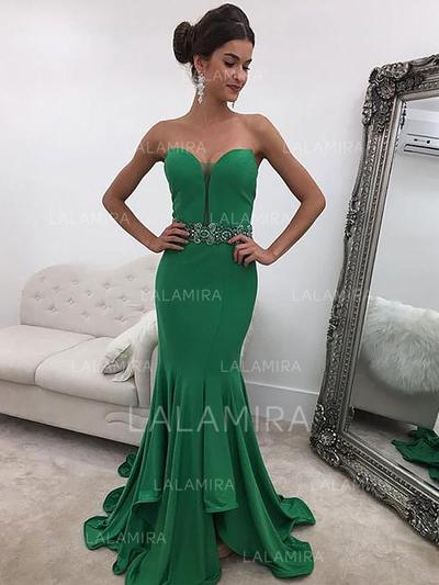 Trumpet/Mermaid Sweetheart Sweep Train Evening Dresses With Ruffle Beading Sequins (017216993)