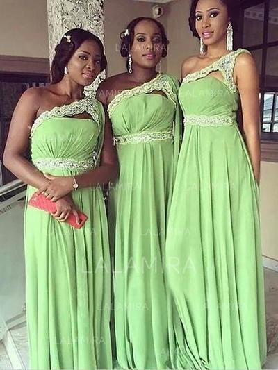 Floor-Length One-Shoulder A-Line/Princess Chiffon Bridesmaid Dresses (007211708)