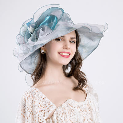 Señoras' Elegante Algodón/Hilado de la red con Flores de seda Disquete Sombrero (196118625)