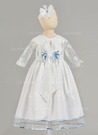 Cetim Tule Decote redondo Vestidos de batismo do bebê com Manga comprida (2001217413)