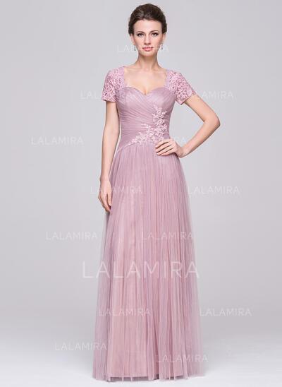 Forme Princesse Amoureux Longueur ras du sol Tulle Robe de mère de la mariée avec Plissé Brodé Paillettes (008056890)