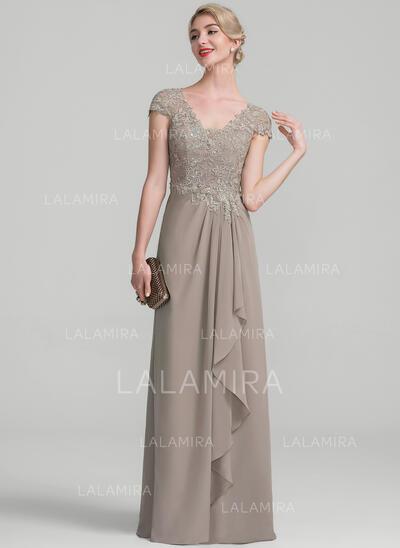 A-Line/Princess V-neck Floor-Length Chiffon Lace Evening Dress With Beading Sequins Cascading Ruffles (017131506)