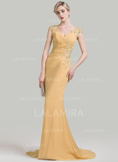 Trumpet/Mermaid V-neck Sweep Train Chiffon Evening Dress With Ruffle Beading Appliques Lace Sequins (017092350)