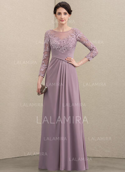 A-Line Scoop Neck Floor-Length Chiffon Lace Evening Dress With Ruffle (017211402)