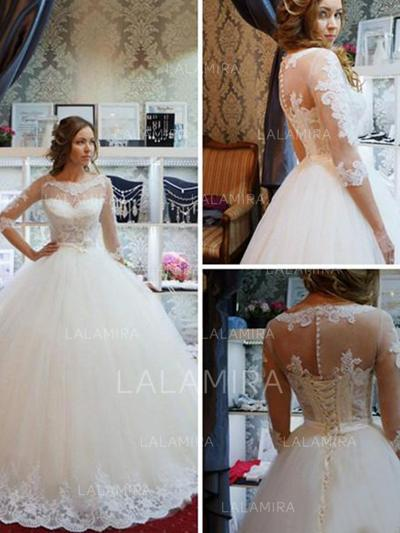 Ball-Gown Appliques Tulle - Newest Wedding Dresses (002213513)