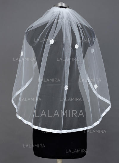 Fingertip Bridal Veils Tulle One-tier Mantilla With Ribbon Edge Wedding Veils (006151574)