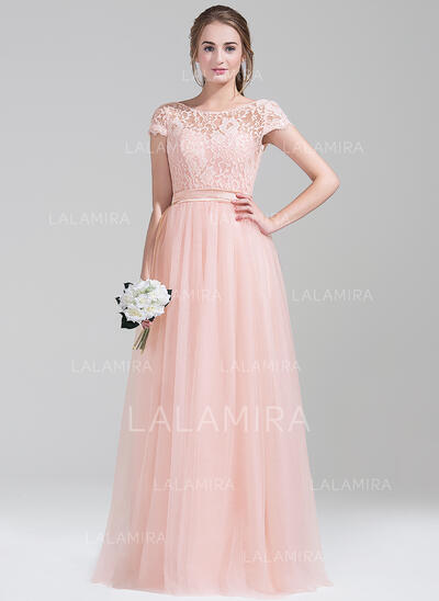 A-Line/Princess Scoop Neck Floor-Length Tulle Prom Dresses With Bow(s) (018112680)