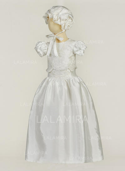 Satin Scoop Neck Flower(s) Baby Boy's Christening Outfits With Short Sleeves (2001217404)