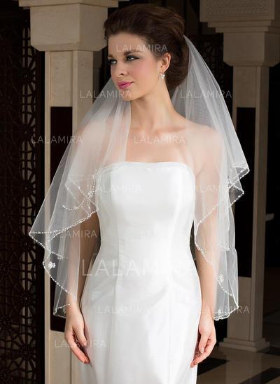 Velare da sposa punta delle dita Tyll Due strati Stile classico con Bordo smussato Veli da sposa (006036604)