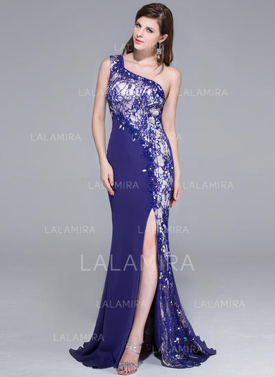 Sweep Train Chiffon Lace Trumpet/Mermaid One-Shoulder Prom Dresses (018025650)