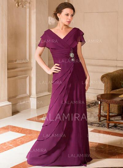 Forme Princesse Col V Longueur ras du sol Mousseline Robe de mère de la mariée avec Plissé Emperler (008024443)