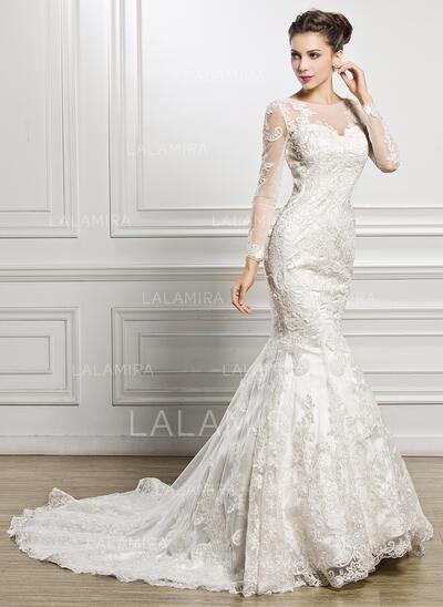 Forme Sirène/Trompette Illusion Traîne mi-longue Dentelle Robe de mariée avec Brodé Paillettes (002057227)