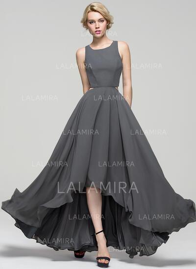 A-Line Scoop Neck Asymmetrical Chiffon Evening Dress (017086896)