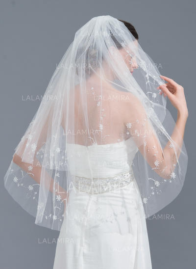 Elbow Bridal Veils Tulle Two-tier Classic With Cut Edge Wedding Veils (006152238)