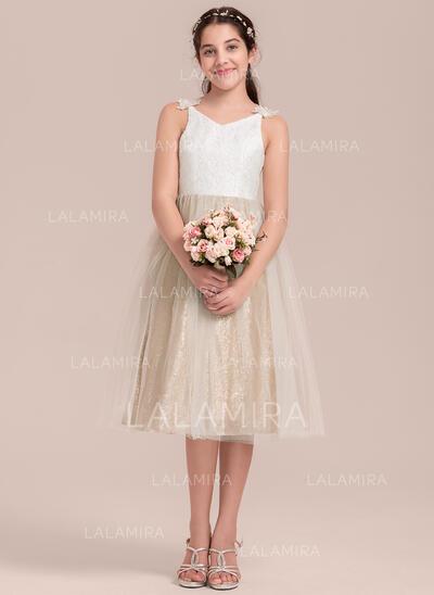Forme Princesse Longueur genou Robes à Fleurs pour Filles - Tulle/Dentelle Sans manches Col V (010144533)