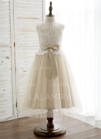 A-Line/Princess Tea-length Flower Girl Dress - Tulle/Lace Sleeveless Scoop Neck With Bow(s) (010164735)