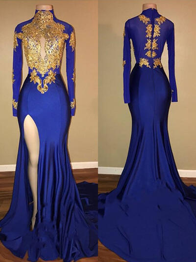 Newest High Neck Trumpet/Mermaid Long Sleeves Jersey Prom Dresses (018217368)