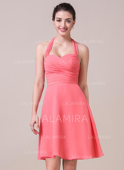 A-Line Halter Knee-Length Chiffon Bridesmaid Dress With Ruffle Bow(s) (007057065)