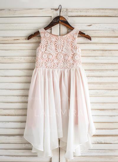Scoop Neck A-Line/Princess Flower Girl Dresses Chiffon/Lace Sleeveless Knee-length (010211633)