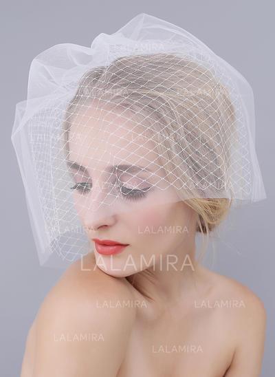 Velos colorete Tul con Corte de borde Blanco/Marfil Marfil/Rojo/Champán/Negro Velos de novia (006104368)