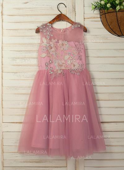 Forme Princesse Longueur mollet Robes à Fleurs pour Filles - Satiné/Tulle Sans manches Col rond avec Fleur(s) (010130899)