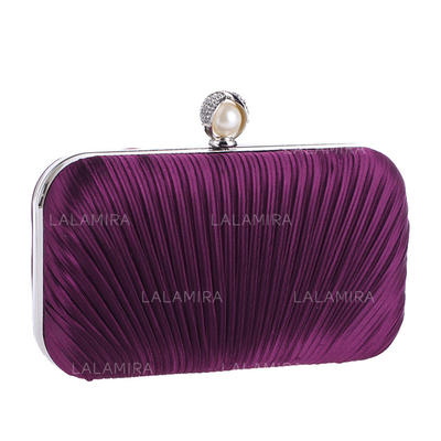 Fashion Handbags Ceremony & Party Satin Clip Closure Elegant Clutches & Evening Bags (012187740)