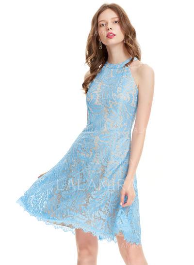 Forme Princesse Longueur genou Dentelle Robes de soirée étudiante (022214170)