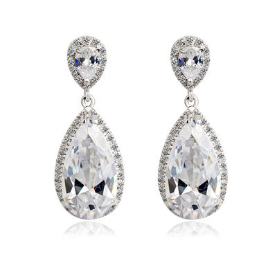Earrings Zircon/Platinum Plated Pierced Ladies' Gorgeous Wedding & Party Jewelry (011164226)