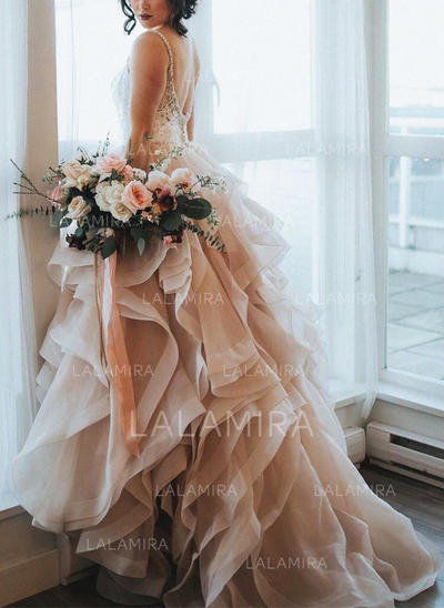Cascading Ruffles Sleeveless A-Line/Princess - Organza Wedding Dresses (002146921)