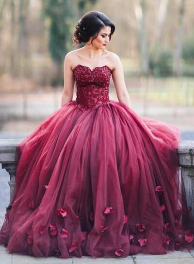 Ball-Gown Sweetheart Floor-Length Prom Dresses With Appliques Lace (018217274)