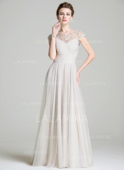 Forme Princesse Mousseline Sans manches Col rond Longueur ras du sol Fermeture éclair Robes mère de la mariée (008072702)