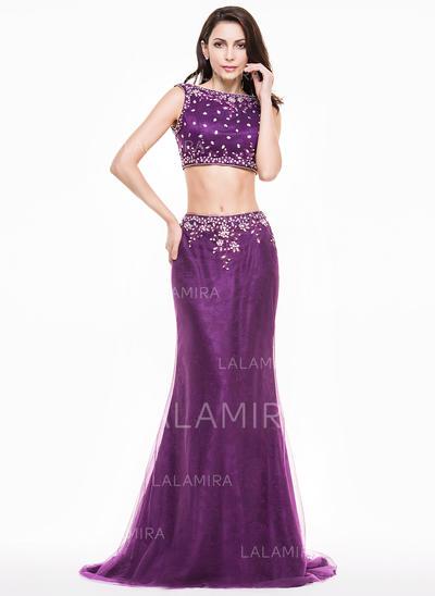 Luxurious Tulle Trumpet/Mermaid Zipper Up Evening Dresses (017065581)