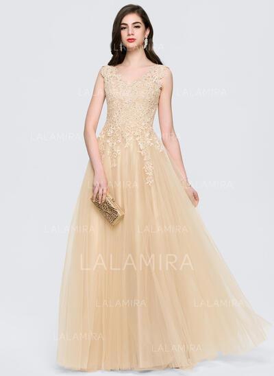 Vestidos princesa/ Formato A Decote V Longos Tule Vestido de festa com Beading (017164953)