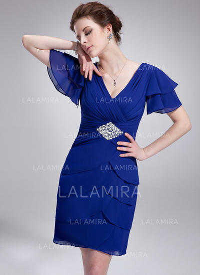 Short Sleeves Chiffon Cocktail Dress