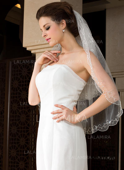 Elbow Bridal Veils Tulle Two-tier Classic/Oval With Beaded Edge Wedding Veils (006151487)