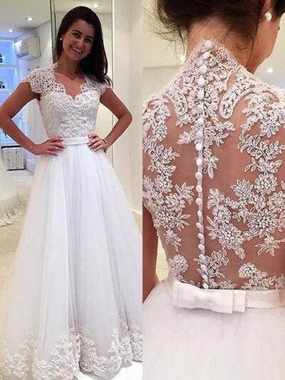 Sem Mangas Em V com Tule Vestidos de noiva (002218044)