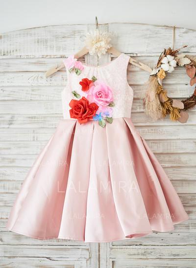 Vestidos princesa/ Formato A Coquetel Vestidos de Menina das Flores - Cetim/Renda Sem magas Decote redondo com fecho de correr (010131735)