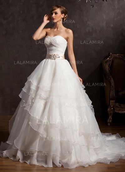 Coração De baile Vestidos de noiva Organza de Cintos Apliques de Renda lantejoulas Curvado Babados em cascata Sem Mangas Cauda longa (002213288)