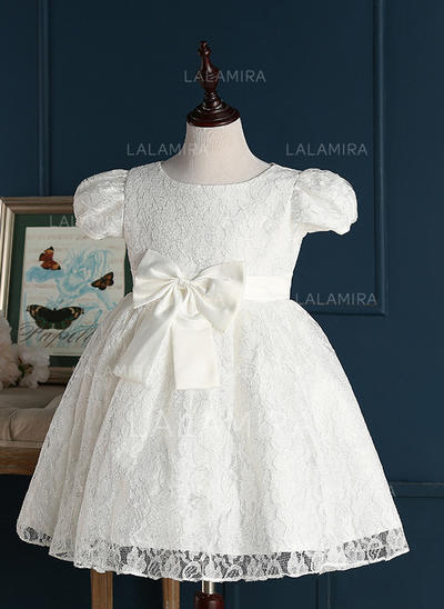 Jewel A-Line/Princess Flower Girl Dresses Lace Bow(s) Short Sleeves Short/Mini (010211622)