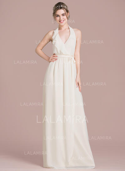 A-Line Halter Floor-Length Chiffon Bridesmaid Dress With Bow(s) Cascading Ruffles (007104714)