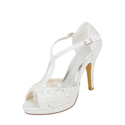 3e9e7f860f Women's Peep Toe Platform Stiletto Heel Silk Like Satin With Stitching Lace  Pearl Wedding Shoes (
