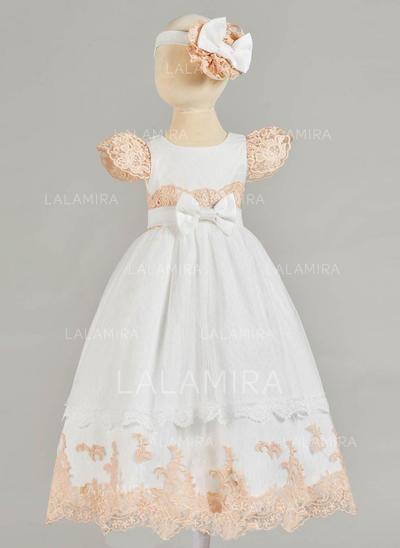 Tul Encaje Escote redondo Lazo(s) Vestidos de bautizo para bebés con Manga corta (2001216842)